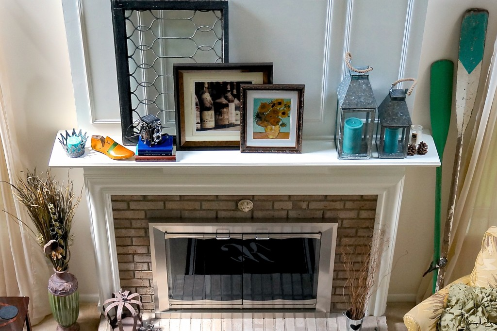 Summertime fireplace decor