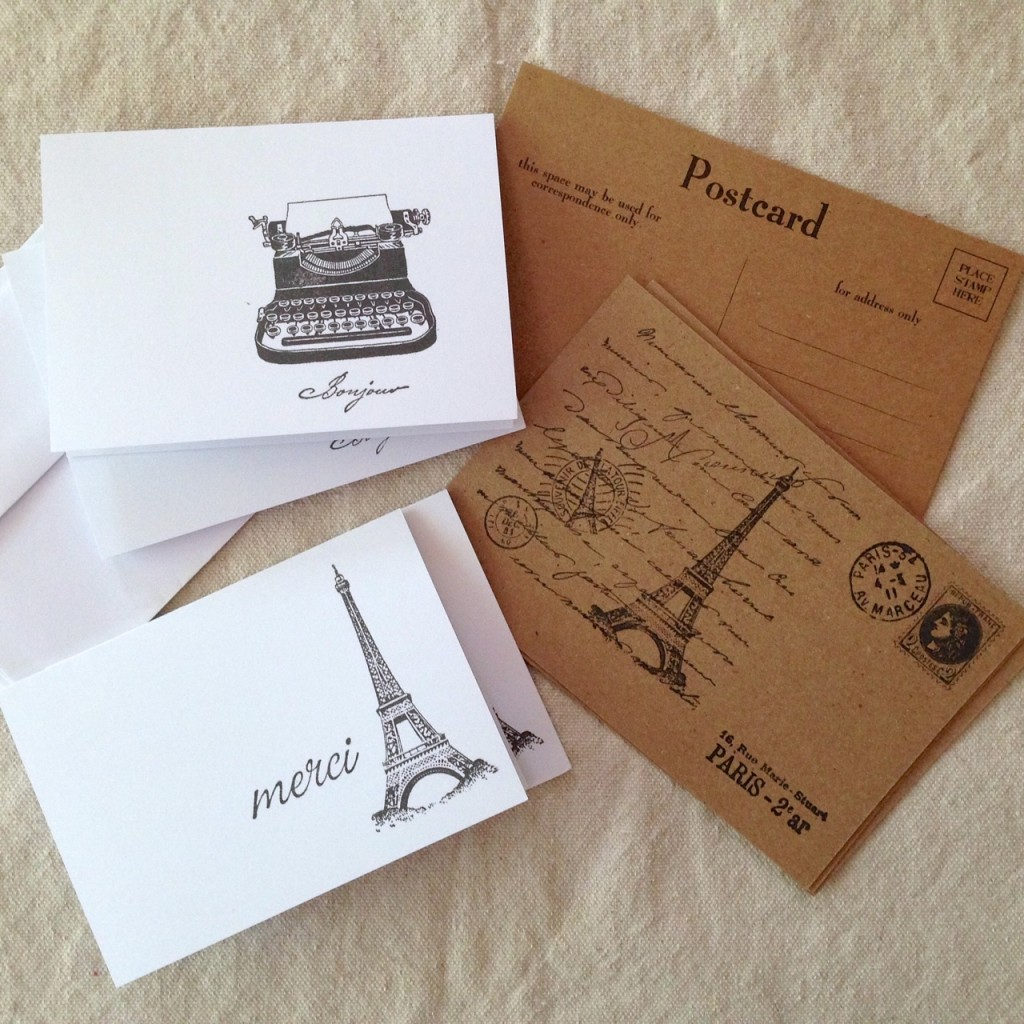 Note and postcards hand-stamped