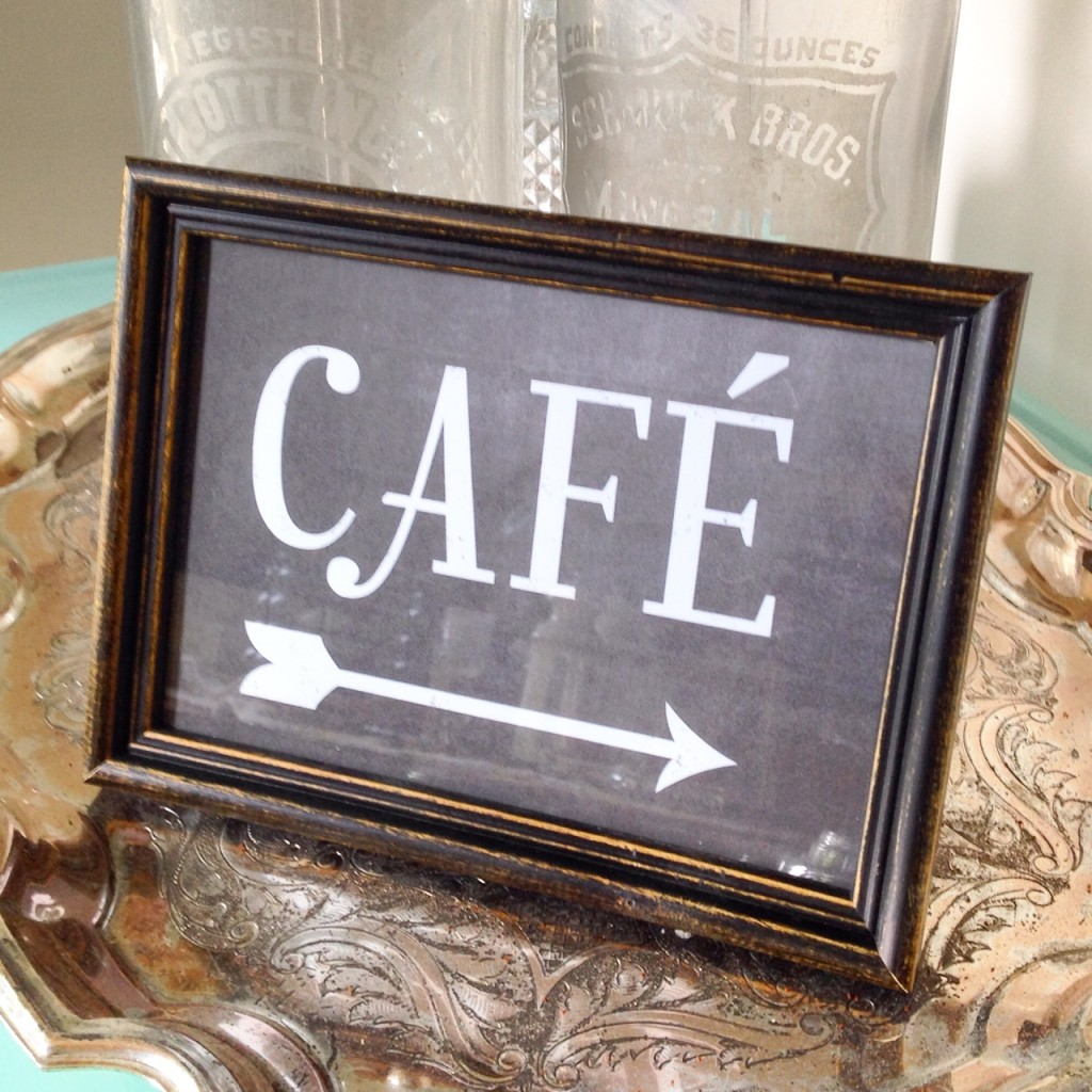 "Sign ""café"" custom designed, printed, frame"
